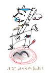 """""""A.I. 2"""", WVZ 1.123 / datiert 11.12.1996 / Filzstiftzeichnung mit Textilfarbe und Kohle auf Bütten / Größe b 10,0 cm * 16,0 cm"""