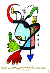"""""""Landschaft mit blauem Herz"""" 5 / WVZ 2.014 / datiert Bad Sobernheim, 30.04.99 / Farbzeichnung mit Textilfarbe auf Papier / Maße b 10,0 cm * h 15,0 cm"""