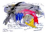 """""""Gemeinschaftsbild mit Doris"""" / WVZ 3.015 / Göhrde, 11.08.00 Ölkreide, Aquarell, Tusche und Text auf teilweise zerrissenem Papier / Maße 59,4 cm * h 42,0 cm"""