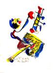 """1 """"o. T."""" WVZ 1.038 / datiert 12.10.1996 / Filzstift, Bleistift, Kohle und Farben auf Papier / b 18,0 cm * 24,0 cm"""