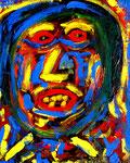 """""""Lächeln"""" Gestringen, den 24.04.1988, Werkverzeichnis 103, Öl, Acryl, Lacke auf Leinwand, b 40 cm x h 50 cm"""