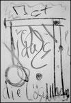 """""""o. T. (5)"""" Blieskastel, den 11.03.1987, Werkverzeichnis 66, Kohle und Kohleschrift auf Papier, b 30,0 cm x h 42,0 cm"""