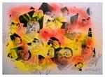 """Copy-Art - Serie von 6 Arbeiten: """"Peter Aumann / Ramon Rose über 50 Jahre Unterschied als Mitglieder des Rates der Stadt Espelkamp"""" 5 von 6 10.1994, Werkverzeichnis 430, kopierte Collage aus Bildern und Zeitungsausschnitten mit Sprühlack bearbeitet"""