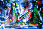 """""""Schiffe"""" Gestringen, im Jahre 1990, Werkverzeichnis 121, Collage aus zerschnittener Malerei auf Holzplatte geklebt, besprüht mit weißem Lack, b 90,0 cm x h 60,0 cm"""