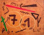 """""""07.01.89"""" Gestringen, den 07.01.89, Werkverzeichnis 117, diverse Farben und Kohle auf Leinwand, b 30,0 cm x h 24,0 cm"""