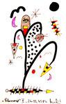 """""""Lilamonde V"""", WVZ 514, vom 26.03.1995, Textilfarbe und Filzstift auf gerissenem Bütten. Größe jeweils b 10,0 cm * h 16,0 cm"""