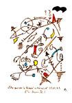 """""""The answaer is blowing in the wind"""" B 25.12.1995, Werkverzeichnis 879, Filzstift und Textilfarbe auf Papier, Größe b 12,0 cm * h 16,0 cm."""