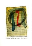 """""""Durchs Tor"""" / WVZ 2.089 / datiert Bad Sobernheim, 25.06.99 / Aquarell (z.T. Bleistift, Tinte, Tusche, Filzstift) auf Papier / Maße b 21,0 cm * h 29,7 cm"""