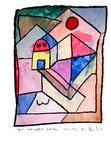 """""""Garten - noch weiblich - mit Haus"""" / Werkverzeichnis 1.211. Datiert 28.12.96. Kohle und Aquarell auf Papier. Größe b 30,0 cm * h 40,0 cm."""