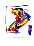 """4 """"o. T."""" WVZ 1.041 / datiert 12.10.1996 / Filzstift, Bleistift, Kohle und Farben auf Papier / b 18,0 cm * 24,0 cm"""