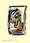 """""""Grenzen der Freiheit!"""" 4 Werkverzeichnis 1.913 / datiert Boddin, 13.02.99 / diverse Farben auf beschem Papier / Maße b 29,7 cm * h 42,0 cm"""
