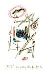"""""""A.I. 9"""", WVZ 1.130 / datiert 11.12.1996 / Filzstiftzeichnung mit Textilfarbe und Kohle auf Bütten / Größe b 10,0 cm * 16,0 cm"""
