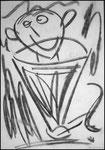 """""""o. T. (11)"""" Blieskastel, den 11.03.1987, Werkverzeichnis 72, Kohle auf Papier, b 30,0 cm x h 42,0 cm"""
