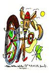 """""""Räder rollen wieder"""" III - Sarajevo - Werkverzeichnis 525. Datiert Bad Bevensen, 09.04.95. Filzstift, Goldlack, Textilfarbe und Aquarell auf Papier. Größe b 12,0 cm * h 16,0 cm."""