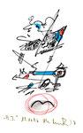 """""""A.I. 7"""", WVZ 1.128 / datiert 11.12.1996 / Filzstiftzeichnung mit Textilfarbe und Kohle auf Bütten / Größe b 10,0 cm * 16,0 cm"""