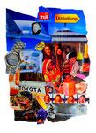 """Collage """"Umleitung"""" 1995 / WVZ 454 / Collage als Klebetechnik von Papier auf Papier (u.a. mit A. Einstein, S. Graf) / b 42,0 cm * h 57,0 cm"""