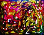 """""""Frühling"""" 6/95 Werkverzeichnis 533 Farbkomposition aus Dispersionsfarben, Tusche, Acryl und weiteren Farben auf Leinwand auf Pappe b 50,0 cm * h 40,0 cm"""
