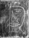 """""""o. T. (2) Selbstbildnis"""" Blieskastel, den 11.03.1987, Werkverzeichnis 63, Kohle und Radiergummi auf Papier, b 30,0 cm x h 40,0 cm"""