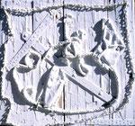 """Materialmontage """"Wand"""" - Sarajevo - 21.05.1994, Werkverzeichnis 417, Materialmontage und Farbe auf Holzbohlen, b 80,0 cm * h 80,0 cm"""
