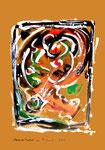 """""""Grenzen der Freiheit!"""" 13 Werkverzeichnis 1.922 / datiert Boddin, 13.02.99 / diverse Farben auf grünbraunem Papier / Maße b 29,7 cm * h 42,0 cm"""