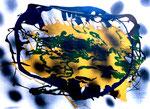 """""""Wasser"""" Gestringen, im Jahre 1989, Werkverzeichnis 114, Öl-, Dispersionsfarbe und Lack auf Papier, b 70,5 cm x h 50,0 cm"""