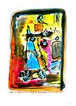 """Malereien - Serie in 4 Arbeiten. Hier Arbeit 1: """"Kopf im Leben kritischer Objekte"""", WVZ 2.994 / Bad Saarow, 19.07.00 / Aquarell und Tusche auf Papier / Maße 21,0 cm * h 29,7 cm"""