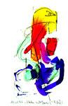 """""""Malen mit Lassi 2"""" / Werkverzeichnis 1.282 / datiert 10.02.97 / Filzstift und Aquarell auf Papier / Maße b 12,0 cm * h 18,0 cm"""