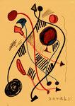 """Serie von 10 Arbeiten - 5 v. 10 - """"Versuche in Bergisch-Gladbach"""" 30.03.1994, Werkverzeichnis 403, div. Farben Filz- und Bleistift auf Papier, b 21,0 cm * h 29,0 cm"""