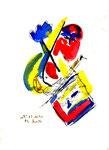"""2 """"o. T."""" WVZ 1.039 / datiert 12.10.1996 / Filzstift, Bleistift, Kohle und Farben auf Papier / b 18,0 cm * 24,0 cm"""