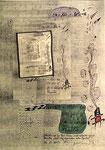 """""""Erläuterungen zur Biotonne mit zahlender grüner Familie und wegschauendem roten Gesicht"""" - Espelkamp, den 16.12.1993, Werkverzeichnis 378, Technik siehe Anfang, b 29,7 cm * 42,0 cm"""