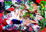 """""""Die Summe"""" - Für Heinz - Werkverzeichnis 3.063 Datiert Göhrde, 14.08.2000 Mein Hemd, festgesteckt mit Nadeln (Plastikknöpfe auf Pappe) versehen mit diversen Farben Maße b 59,0 cm * h 42,0 cm"""