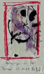 """""""Gefangen in Rot"""" / Torrox, 23.10.08 / Original Grafik mit Ölkreide und Tusche auf grauem Papier / B 21,0 cm * H 29,7 cm / Werkverzeichnis 3.804"""