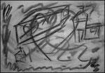 """""""o. T. (8)"""" Blieskastel, den 11.03.1987, Werkverzeichnis 69, Kohle auf Papier, b 42,0 cm x h 30,0 cm"""