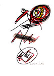 """""""o. T."""" 6, WVZ 958 / datiert 21.03.1996 / Filzstift und Grafit auf Papier / b 30,0 cm * 40,0 cm"""