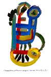 """""""Zusammenfassung als Baumeister des Geistes"""" Werkverzeichnis 3.294 / datiert Wiesmoor, 14.12.00 diverse Farben und Tusche auf Papier / Maße b 29,7 cm * h 42,0 cm"""