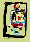 """Serie von 6 Arbeiten: """"Enge 3"""" / WVZ 1.901 / datiert Boddin, 13.02.99 / diverse Farben auf farbigem Papier / Maße jeweils b 29,7 cm * h 42,0 cm"""