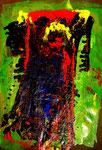 """""""UDSSR"""" Gestringen, den 04.10.89, Werkverzeichnis 122, Binderfarbe, Ölfarbe, Lack auf Zeitung auf Papier, b 50,0 cm x h 70,0 cm."""