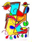 """""""Unedle Farben"""" Titisee, den 01.04.1993, Werkverzeichnis 348 Textilfarbe auf Aquarellpapier b 34,0 cm * h 46,0 cm"""