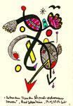 """""""Verbundene Wunden..."""" 4 / WVZ 2.013 / datiert Bad Sobernheim, 29.03.99 / Farbzeichnung mit Textilfarbe auf Papier / Maße b 10,0 cm * h 15,0 cm"""