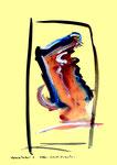 """""""Grenzen der Freiheit!"""" 5 Werkverzeichnis 1.914 Datiert Boddin, 13.02.99 Diverse Farben auf hellgelbem Papier Maße b 29,7 cm * h 42,0 cm"""