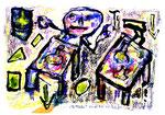 """""""Der Trinker"""", Isny, den 07.11.1991, Werkverzeichnis 201, Tusche, Tinten und Ölkreide auf Papier, b 40,0 cm x h 30,0 cm"""