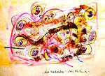 """""""Mit Waschpulver"""" 1995 Werkverzeichnis 456 Farbkomposition aus diversen Farben und Lacken auf Papier, sowie mit Kleber darauf fixiertes Waschpulver b 59,0 cm * h 41,8 cm"""