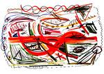 """""""Terra humanum"""" Gestringen, den 10.01.1993, Werkverzeichnis 339, Diverse Farben, Filzstift, Bleistift und Text auf Papier, b 59,4 cm * h 42,0 cm"""