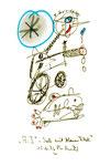 """""""A.I. - Seele mit blauem Fleck"""" 4 WVZ 1.144, datiert 15.11.96 Bleistift, Textilfarbe und Kohle auf Bütten Maße b 10,0 cm * 16,0 cm"""