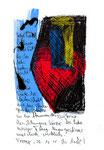 """""""Liebe"""" / Torrox, 29.10.08 / """"Sprechbild"""" mit vorstehendem Text als Original Grafik mit Ölkreide, Tusche und Text auf Papier / B 21,0 cm * H 29,7 cm / Werkverzeichnis 3.805"""