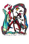"""""""Drei Vögel gegen den Himmel"""" - Vukovar - Werkverzeichnis 530. Datiert Bad Bevensen, 09.04.95. Filzstift, Textilfarbe und Aquarell auf Papier. Größe b 20,0 cm * h 29,5 cm."""