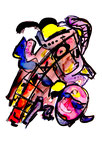 """Menschen"" II / WVZ 916 / datiert 02.01.96 / Filzstift, Kreiden und Aquarellfarben auf Papier / b 30,0 cm * h 40,0 cm"