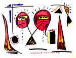 """""""Landschaftern III"""" Titisee, 29.03.1993 Werkverzeichnis 343 Filzstift und Aquarell auf Papier b 46,0 cm * h 34,0 cm"""