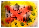 """Copy-Art - Serie von 6 Arbeiten: """"Peter Aumann / Ramon Rose über 50 Jahre Unterschied als Mitglieder des Rates der Stadt Espelkamp"""" 1 von 6 10.1994, Werkverzeichnis 426, kopierte Collage aus Bildern und Zeitungsausschnitten mit Sprühlack bearbeitet"""