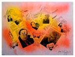 """Copy-Art - Serie von 6 Arbeiten: """"Peter Aumann / Ramon Rose über 50 Jahre Unterschied als Mitglieder des Rates der Stadt Espelkamp"""" 2 von 6 10.1994, Werkverzeichnis 427, kopierte Collage aus Bildern und Zeitungsausschnitten mit Sprühlack bearbeitet"""